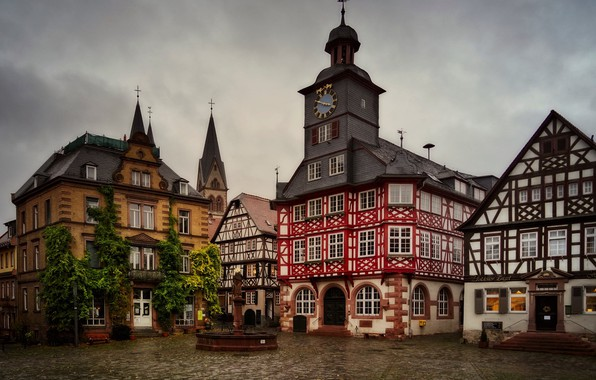 Picture building, home, Germany, area, fountain, Germany, town hall, Market square, Heppenheim, Marketplace, Heppenheim