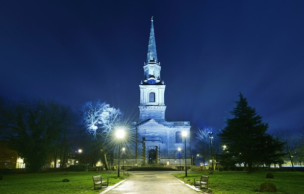 Picture England, the evening, backlight, Church, Wolverhampton