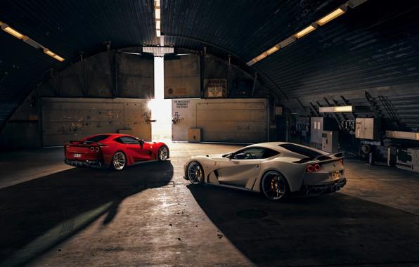 Picture light, machine, hangar, Ferrari, sports car, Superfast, 812, Novitec N-Largo