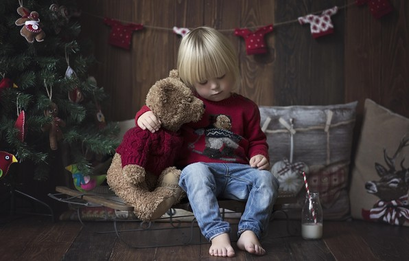 Picture room, mood, holiday, toy, toys, new year, Christmas, pillow, baby, bear, tree, garland, sled, child, …