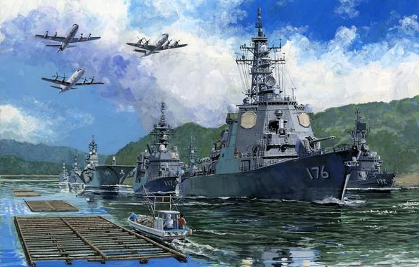 Picture Japan, destroyer, helicopter, escort flotilla, JMSDF Escort Flotilla 4