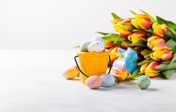 Picture flowers, colorful, Easter, tulips, happy, flowers, tulips, Easter, eggs, painted eggs