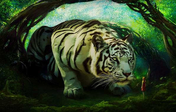 Photo wallpaper girl, tiger, white tiger
