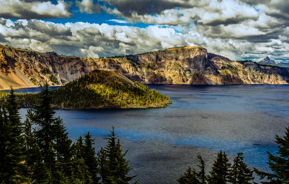 Picture clouds, trees, lake, rocks, USA, crater, Oregon, Crater Lake National Park