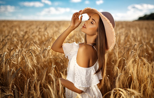 Picture field, summer, girl, nature, model, hat