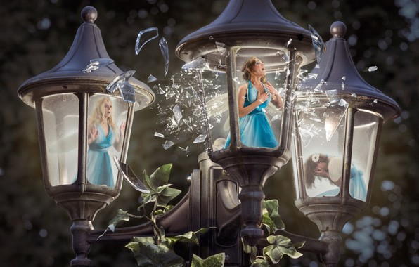 Picture women, light, surprise, light, Creek, women, imprisonment, fantasy art, crying, screaming, crying, street lamp, surprise, …