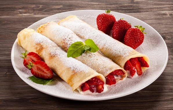 Picture berries, Breakfast, strawberry, mint, Strawberry, dessert, powdered sugar, pancake