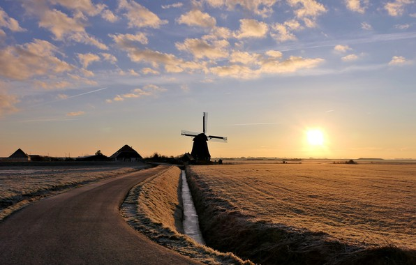 Picture winter, road, the sky, the sun, clouds, field, home, mill, Winter in de Polder