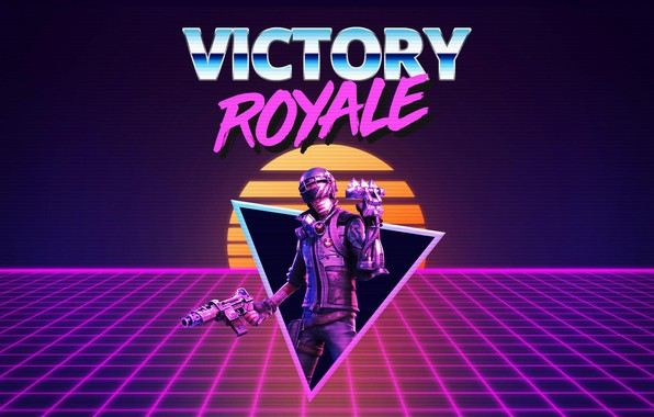 Wallpaper Background Art Synth Retrowave Battle Royale Synthwave New Retro Wave Futuresynth Sintav Retrouve Victory Royale Fortnite Battle Royale Images For Desktop Section Rendering Download