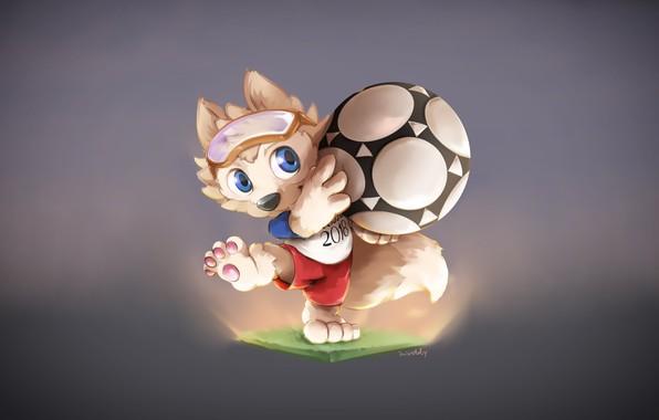 Picture The ball, Sport, Football, Wolf, Russia, 2018, FIFA, FIFA, World Cup 2018, Mascot, Zabijaka, Talisman, …