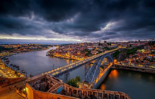 Picture bridge, river, Portugal, night city, Portugal, Vila Nova de Gaia, Porto, Port, the river Duero, ...