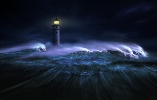 Picture sea, wave, light, night, darkness, graphics, lighthouse, digital art, nikos Bantouvakis