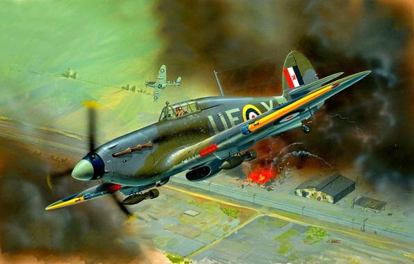 Picture the explosion, smoke, UK, fighter-bomber, Hurricane Mk IIB, bombs, twelve 7.7 Browning machine guns.303, The …