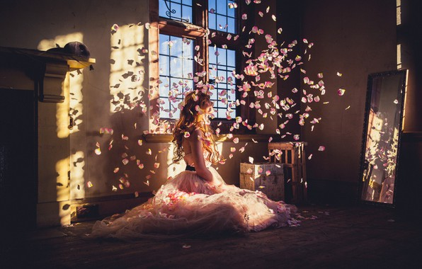 Picture girl, light, room, petals, dress, mirror, window, on the floor