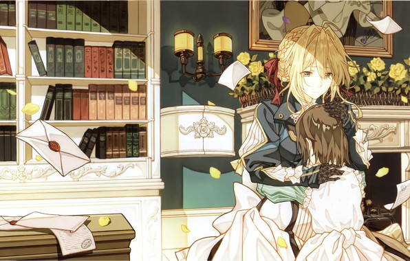 Picture books, hugs, wardrobe, library, two girls, in the room, the envelope, sconce, letters, Violet Evergarden, …