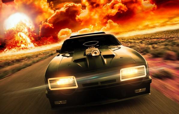 Picture road, auto, storm, mad max, Ford Falcon, mad max