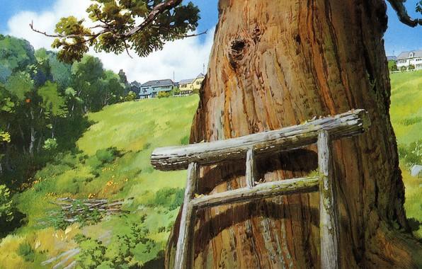 Picture summer, art, Hayao Miyazaki, the trunk of the tree, Spirited Away, Spirited away, torii gate