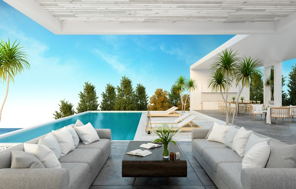 Picture house, room, furniture, pool, luxury