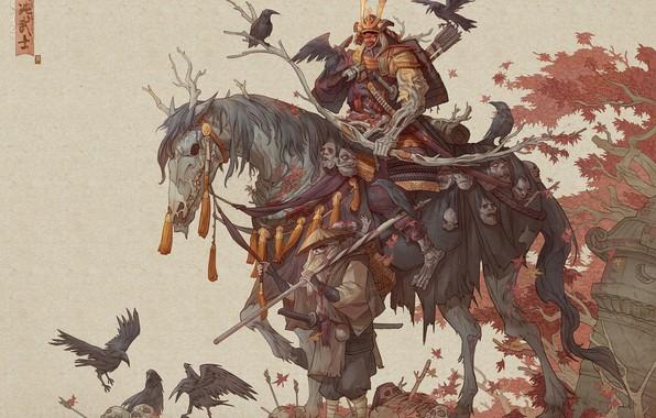 Picture sword, fantasy, armor, skulls, art, katana, men, death, horse, samurai, weapons, artwork, warrior, drawing, creature, …