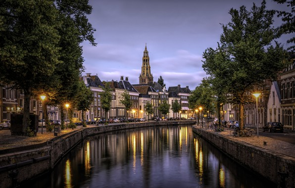 Picture the city, building, home, the evening, lighting, channel, Netherlands, Holland, Groningen