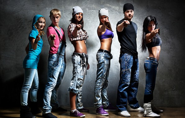 Picture style, background, girls, clothing, jeans, group, caps, guys, sneakers, gestures, poses, dancers