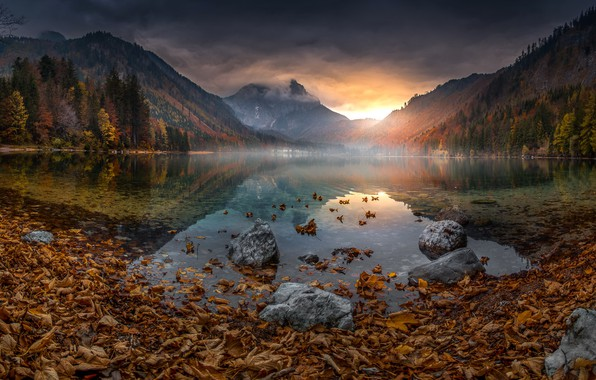 Picture autumn, leaves, sunset, mountains, lake