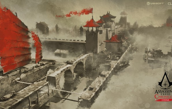 Picture city, China, game, walls, Assassin's Creed, castle, ship, digital art, artwork, Assassin's Creed: Chronicles