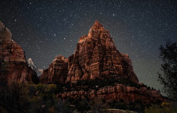 Picture the sky, mountain, starry sky