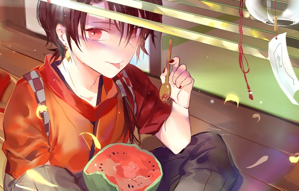 Picture boy, watermelon, red eyes, Japanese clothing, stuck out his tongue, touken ranbu, Dance of swords, …