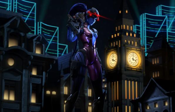 Picture girl, night, the city, assassin, Overwatch, Widowmaker, Amélie Lacroix