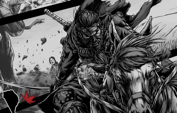 Picture game, katana, samurai, mask, play station 4, ghost of tsushima