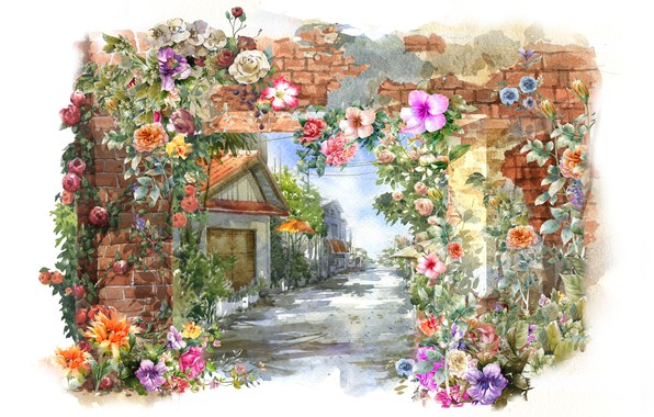 Picture flowers, house, wall, spring, watercolor, painting