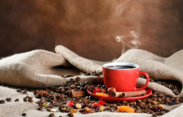 Picture coffee, Cup, cinnamon, bag, coffee beans, spices