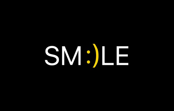 Picture smile, background, black, minimalism, black, smiley, minimalism, smiley, smile, the word, background, word