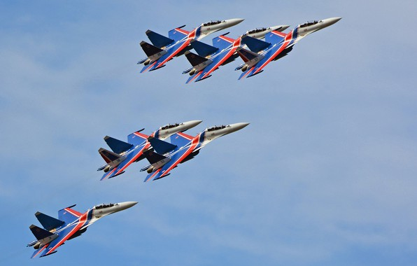 "Picture aerobatic team, multi-role fighter, Su-30CM, Su-30SM, ""Russian Knights"""