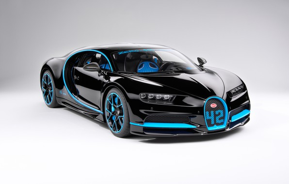 Picture background, black, art, front view, hypercar, Bugatti Chiron
