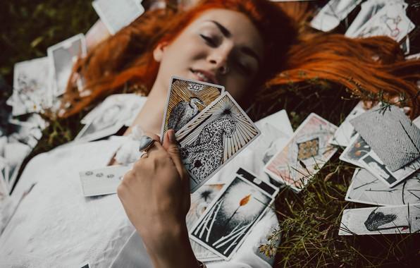 Picture card, girl, red, Maxim Grachev