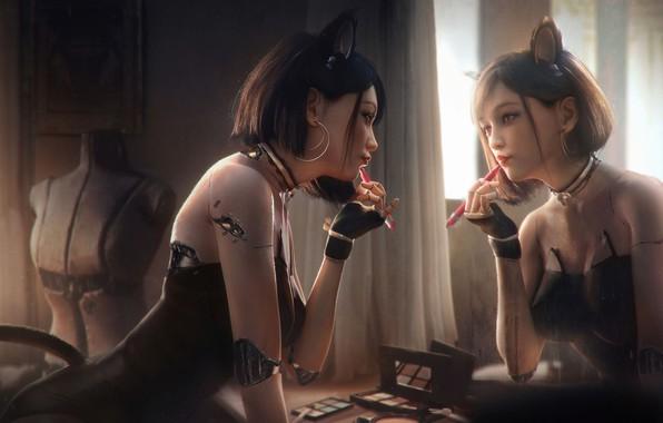 Picture girl, reflection, mirror, cyborg, tian zi