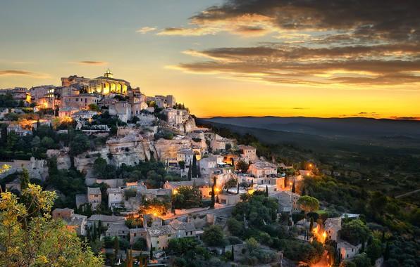 Picture city, lights, sky, trees, landscape, nature, sunset, France, clouds, houses, town, Provence, Gordes, Provence-Alpes-Cote d'azur