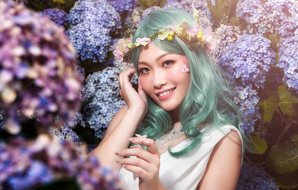 Picture look, girl, flowers, face, pose, smile, sweetheart, butterfly, hair, Bush, portrait, hands, garden, green, Asian, …