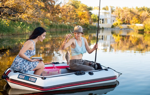 Picture girls, boat, fish, rod, catch