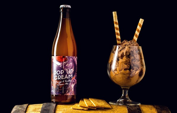 Picture bottle, ice cream, drink