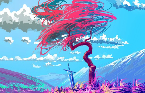 Picture colorful, sword, fantasy, sky, art, clouds, mountain, tree, artist, digital art, artwork, fantasy art, painting …