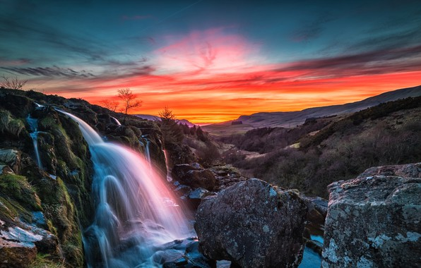 Picture sunset, mountains, waterfall