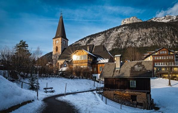 Picture winter, landscape, home, Austria, Church, municipality, Altaussee, Altaussee