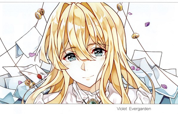 Picture face, petals, blue eyes, bangs, letters, envelopes, Violet Evergarden, by Cheese Kang