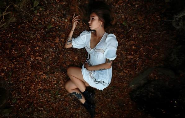 Picture autumn, girl, pose, mood, dress, tattoo, Christina, Denis Lankin