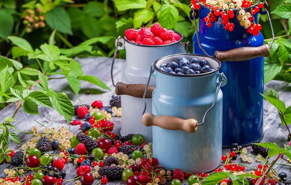 Picture summer, leaves, berries, raspberry, table, Board, food, garden, harvest, blueberries, dishes, placer, a lot, different, …