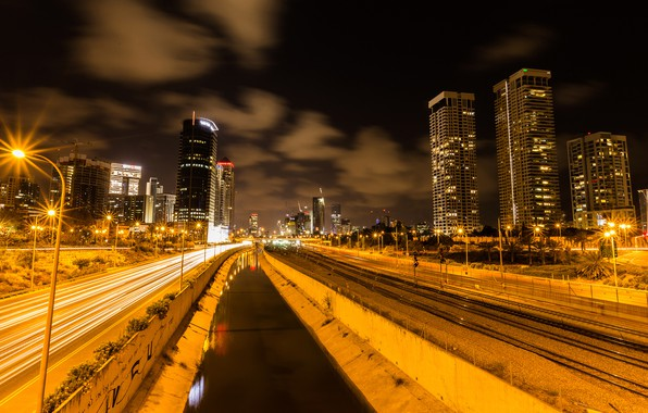 Wallpaper Road The Sky Clouds Night Lights Home Lights