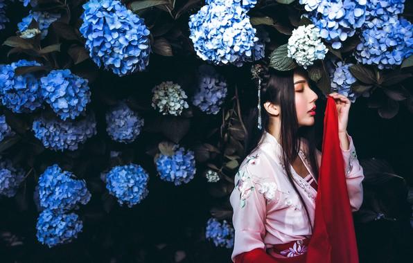 Picture girl, flowers, the dark background, red, garden, dress, brunette, blue, hairstyle, beauty, kimono, Asian, flowering, …
